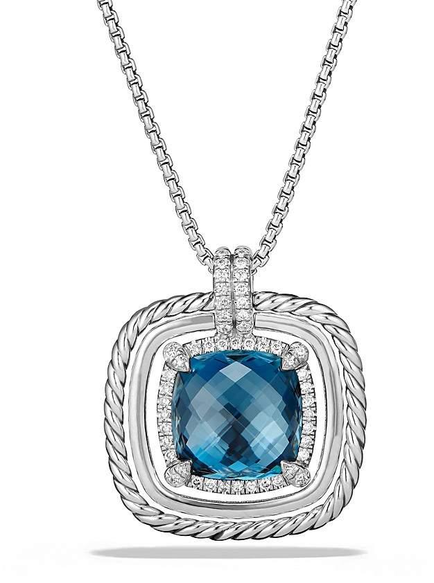 David Yurman Ch'telaine Pavé Bezel Necklace with Hampton Blue Topaz and Diamonds