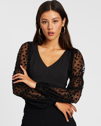 Ivyrevel Puff Sleeve Dotted Mesh Top