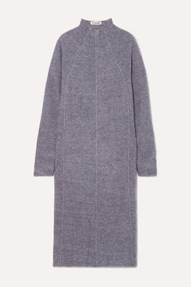 Jil Sander Paneled Melange Cashmere, Wool And Silk-blend Midi Dress - Dark gray