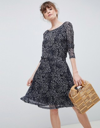 Ichi Printed Skater Dress With Sheer Sleeves
