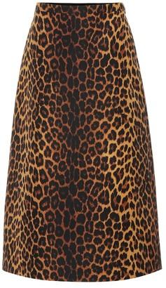 Gucci Leopard wool-blend skirt