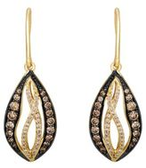LeVian 14 Kt Yellow Gold Chocolate and White Diamond Drop Earrings