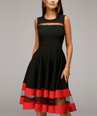 Br.Uno Ricco Women's Special Occasion Dresses Black - Black & Red Mesh-Panel Sleeveless A-Line Dress - Women