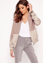 Missguided Satin Two Tone Bomber Jacket Mauve