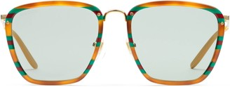 Gucci Square acetate and metal sunglasses