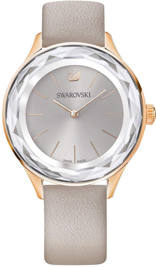Swarovski Women's Swiss Octea Nova Taupe Leather Strap Watch 36mm