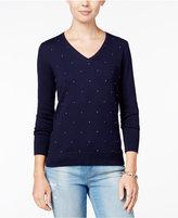 Tommy Hilfiger Ivy Embellished V-Neck Sweater, Only at Macy's