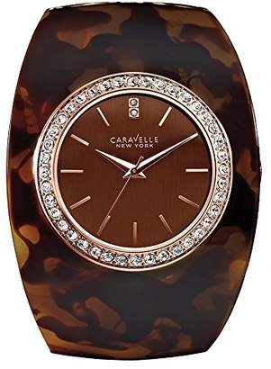 Caravelle New York Carvelle New York Rose Gold Women's Quartz Watch with Mocha Dial Analogue Display and Brown Bangle 44L140