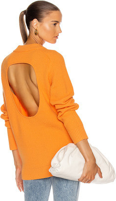 Helmut Lang Cutout V Neck Sweater in Safety Orange | FWRD
