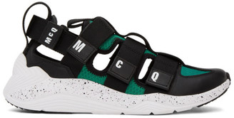 McQ Black and Green Tech Sandal 1.0 Sneakers