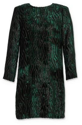 Saint Laurent Velvet Jacquard Tiger Mini Dress
