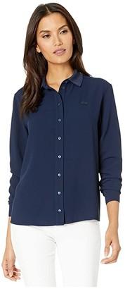 Lacoste Long Sleeve Basic Tunic Shirt (Navy Blue) Women's Clothing