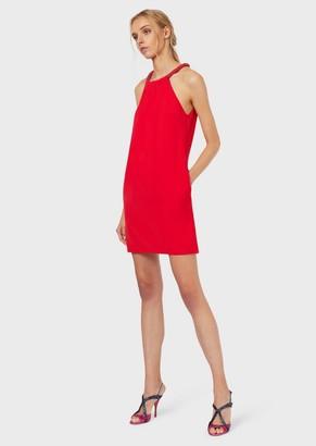 Emporio Armani Dress In Tech Cady With A Round Neckline