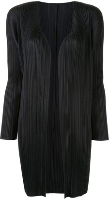 Pleats Please Issey Miyake Pleated Open Front Cardigan