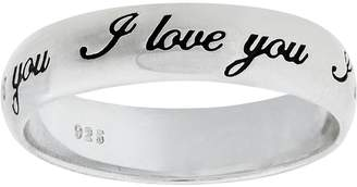Moon & Back Sterling Silver 'I Love You' Band Ring
