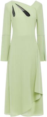 Roland Mouret Wrap-effect Lace-trimmed Wool-crepe Midi Dress