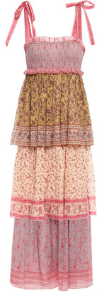 Zimmermann Juniper Tiered Printed Cotton And Silk-blend Maxi Dress