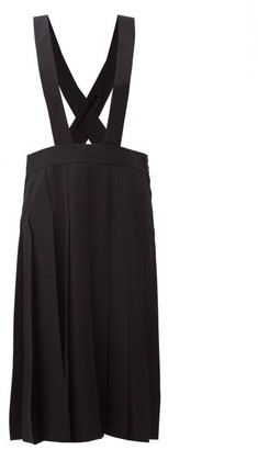COMME DES GARÇONS GIRL Pleated Wool-gabardine Dungaree Skirt - Black