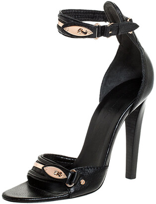 Balenciaga Black Leather Buckle Detail Ankle Strap Sandals Size 39
