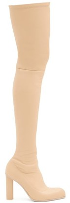 Alexander McQueen Point-toe Leather Over-the-knee Boots - Beige