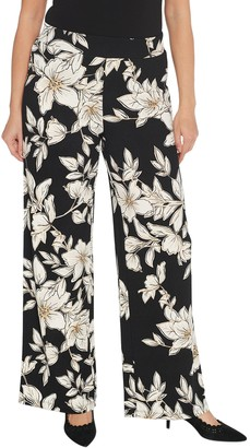 Isaac Mizrahi Live! Petite Floral Printed Pebble Knit Wide-Leg Pants