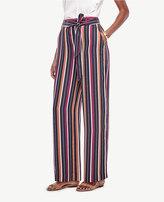 Ann Taylor Petite Stripe Belted High Waist Wide Leg Pants