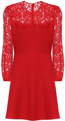 Valentino Lace-trimmed wool and silk minidress