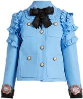 Gucci Ruffle-trimmed cotton-blend cady jacket