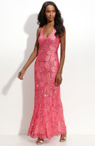 Adrianna Papell 92868320 Sequin Embellished Halter Neck Gown