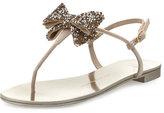 Giuseppe Zanotti Jeweled Flat Bow Sandal, Blush