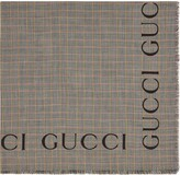 Gucci Check wool shawl with logo
