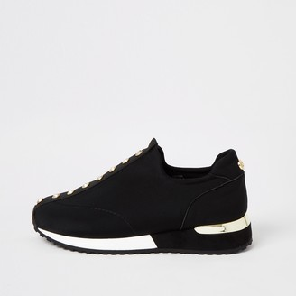 River Island Girls Black diamante pull on trainers