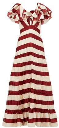 Johanna Ortiz Conocimiento Striped Silk Charmeuse Gown - Womens - Red Stripe