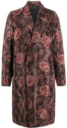 Ann Demeulemeester Long Sleeve Paisley Pattern Coat