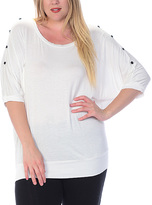 Celeste White Studded Dolman Top - Plus