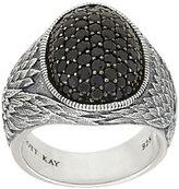 Scott Kay Sterling & Pave' Black Spinel Guardian Angel Ring