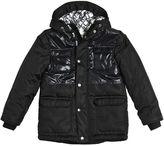 MSGM Hooded Shiny & Matte Nylon Puffer Coat