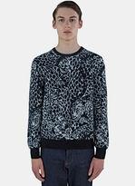 Saint Laurent Men's Leopard Mohair Knit Sweater In Grey