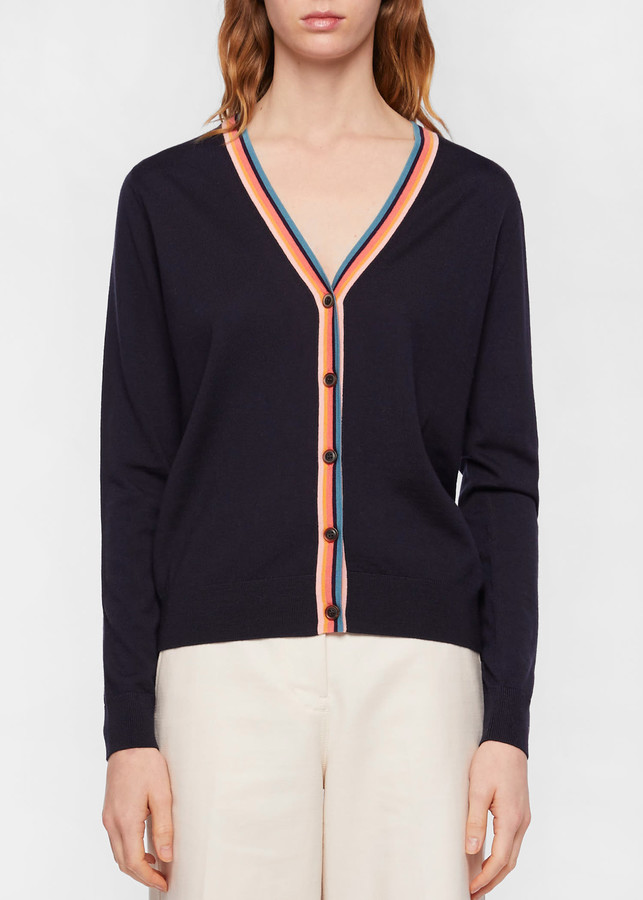 Paul Smith Women's Navy Wool Cardigan With 'Artist Stripe' Trims
