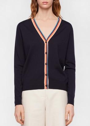 Paul Smith Women's Navy Wool Cardigan With 'Artist Stripe' Trims