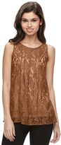 Mudd Juniors' Sheer Lace Tank Top
