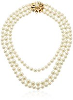 """Carolee Pearl Glam 3 Row and Floral Burst Necklace, 18"""""""