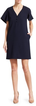 Lela Rose Handkerchief Sleeve Wool Crepe Shift Dress