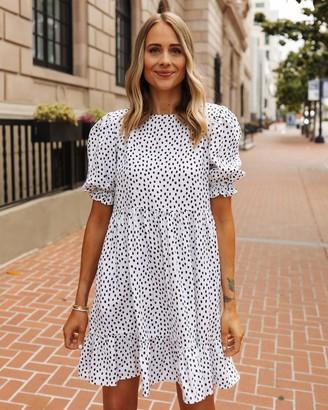 The Drop Women's White/Black Polka-Dot Tiered Dress by @fashion_jackson M