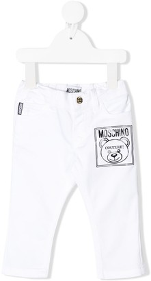 MOSCHINO BAMBINO Straight Fit Printed Logo Jeans