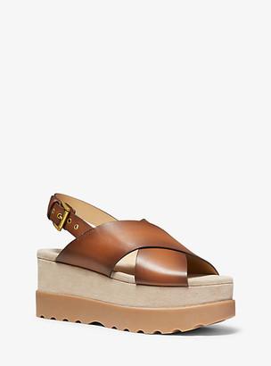 Michael Kors Becker Burnished Leather Flatform Sandal