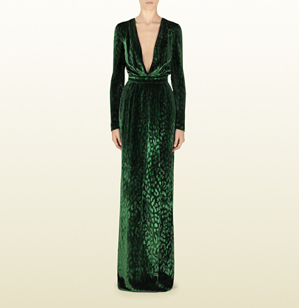 Gucci Velvet Deep V-Neck Gown