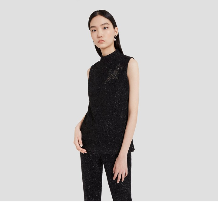 Mulberry Mildred Blouse Black Embroidered Lurex Tweed