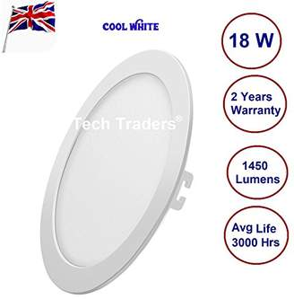 Tech Traders 18W Ceiling Round Ultra-Slim 6000K Cool 1450 Lumens for Kitchen Dining Room (LED Driver Included Inside Panel Light), Integriert, 18 W, White