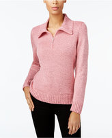 Karen Scott Wing-Collar Zip-Up Sweater, Created for Macy's